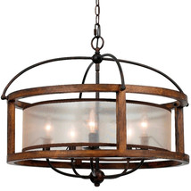 "Iron Wood Chandelier 5 Lights 26""Wx21""H - £548.03 GBP"