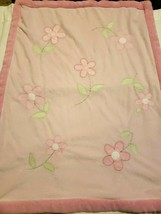 Carters Just One Year Baby Blanket Pink Daisy Flowers Green Leaves - $27.23