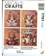 McCalls Crafts 7701 Door Hangers Cow, Pig, Snowman or Turkey USED - $4.94