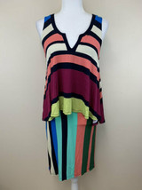 NWT Maeve Anthropologie S Davidno Rainbow Stripe Peplum Ruffle Layered D... - $29.99