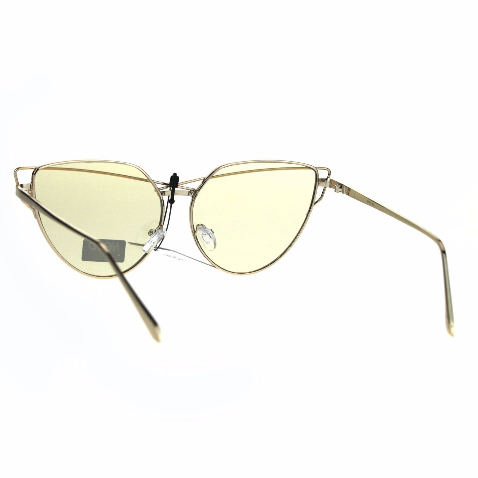 Nerd Cat Eye Metal Rim Light Color Lens Retro Sunglasses