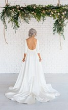 Scoop 3/4 Sleeves Open Back Sweep Train A Line Long White Satin Wedding Dress - $145.00