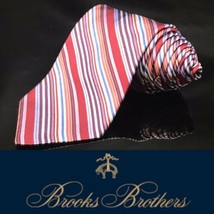 Brooks Brothers Rainbow Red Blue White Purple Stripped Tie - $49.68