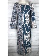 Nanette Lepore Maxi Dress Women's 6 Blue Beige Bell Sleeves Side Slits C... - $55.24