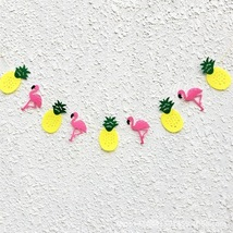 Pink Flamingo Pineapple Party Banner Girls Room... - $2.81