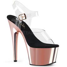"PLEASER Sexy 7"" Heel Rose Gold Chrome Platform Pole Dancer Stripper Clea... - $59.95"