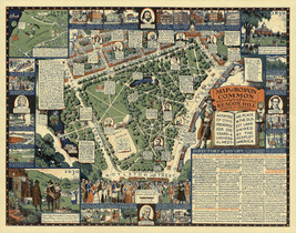 Historical Pictorial Map Boston Common Streets Beacon Hill Art Poster Pr... - $12.87+