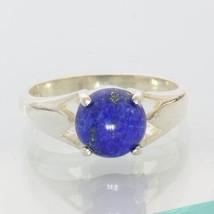 Lapis Lazuli Bright Blue Cabochon Round Handmade Unisex 925 Silver Ring ... - £47.02 GBP