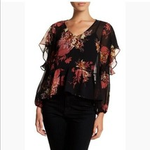 Halogen | Nordstrom Black Sheer Chiffon Floral Blouse Size L Ruffle Cold... - $27.10