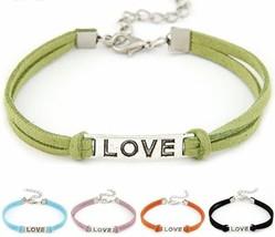 Adjustable Handmade Leather Love Charm Bracelet - $19.99
