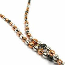 18K WHITE ROSE BLACK GOLD LARIAT NECKLACE DIAMOND CUT SPHERES SPIRAL BRAIDED image 3