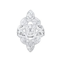 NWT GLK 18K WHITE GOLD 1.65CT DIAMOND EMBELLISHED PETAL RING SIZE 7 - £1,648.33 GBP
