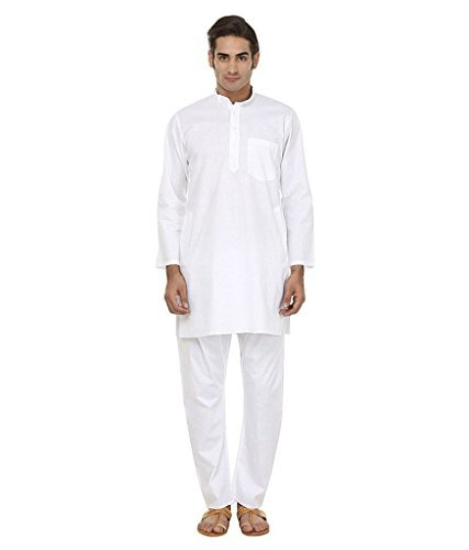 Primary image for Royal Kurta Men's 100% Pure Desi Cotton Kurta Pyjama Set 42 White