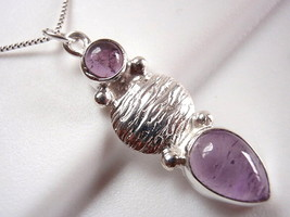 Amethyst Pendant 925 Sterling Silver Tribal Style Double Gem Stone New - $8.90
