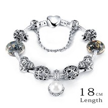 LZESHINE 2016 New Charm Bracelets & Bangles Antique Silver Color Heart C... - $10.64