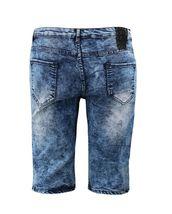 Men's Distressed Denim Faded Wash Slim Fit Moto Quilt Skinny Jean Shorts image 6