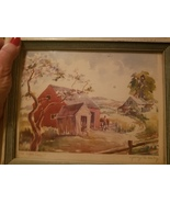 """George M. Kirby water color """"The Old Apple Tree"""" , country, barn, vintage - $27.00"""