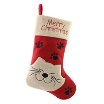 WEWILL 18'' Cat Felt Christmas Stockings Paws Embroidered for Pets Red Xmas Stoc - $18.71