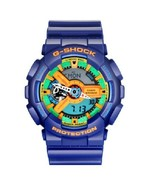 New Casio Men's GA110FC-2A Blue Resin Quartz Watch with Green Dial  - $215.01