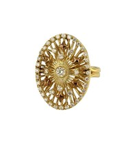 Two tone Gold Diamond Ring with Oval Ornament - $1,699.00
