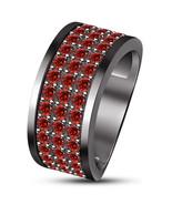 Red Garnet Mens Anniversary Band Ring 14k Black Gold Finish 925 Sterling Silver - $94.99
