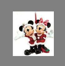 Disney Parks Mickey and Minnie Santa Glitter  Christmas Ornament Hand Pa... - $19.79