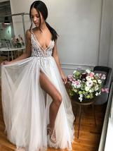 A Line V Neck Backless Beaded Tulle Prom Dresses Hot Ivory Wedding Dress... - $226.00
