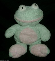"""9"""" Ty Pluffies Light Green Frog Grins Stuffed Animal Plush Toy Soft 2002 B EAN S - $9.50"""