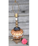 VINTAGE MID CENT BROWN GLASS LAMP MELON HAND PAINTED BRASS ACCURATE CAST... - $99.99