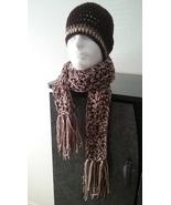 Men's Handmade Crochet Hat  & Scarf Set/Brown  - $50.00