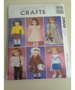 """McCall's Crafts 3900 Sewing Pattern Doll  Fits 18"""" American Girl Doll Uncut - $5.89"""