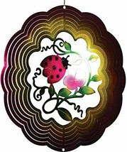 "Ladybug Flower Wind Spinner New Zephyr Spiral 12"" Steel Pink Red  - $25.73"
