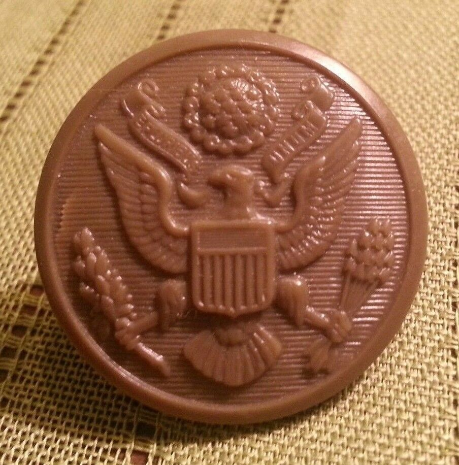 Primary image for Vintage Army Green Hard Plastic Button w US SEAL