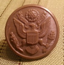 Vintage Army Green Hard Plastic Button w US SEAL - $5.71