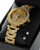 Women Luxury GP Fully Iced Out  Bezel & Band Peace Symbol + Stud Earring - $16.16
