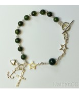 Catholic Rosary Bracelet Green Jade and Sterling Silver - $128.70