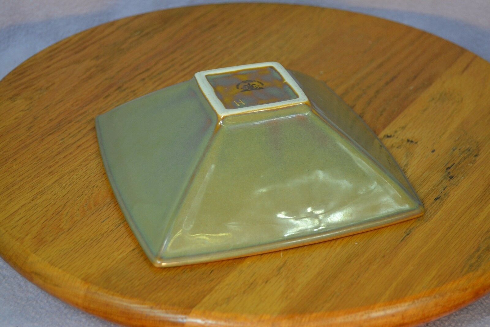 Homer Laughlin China Lead Free Green Square Cereal Bowl Made in USA