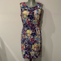 Japna Blue Abstract Floral Print Sleeveless Dress NWT size Medium - $19.26