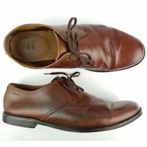 $115 Clarks 1825 Hawkley Leather Derby Sz 9.5 Brown Leather Dress Shoe - $40.85