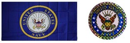"Wholesale Combo Set USN Navy Emblem 3x5 3'x5' Flag and 3""x4"" Decal - $9.99"