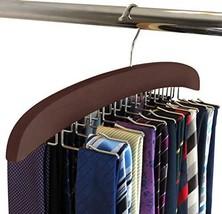 SunTrade Wooden Tie Hanger,24 Tie Organizer Rack Hanger Holder Hook Black, 24 Ho
