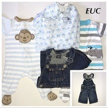 Baby Boy Swaddle Denim Coveralls Pajamas Clothing Lot 9-12 Months - $24.75