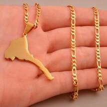 Anniyo Eritrea Map Pendant Figaro Chain for Women/Men Gold Color Jewelry... - $10.32