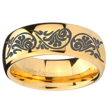 Etched Tribal Pattern Design 10mm Gold Dome Tungsten Carbide Engraved Ring - $53.99