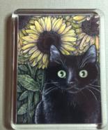 Cat Art Acrylic Large Magnet - Black Cat and Sunflowers - $6.00