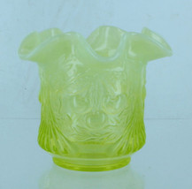 Vintage LG Wright Uranium Vaseline Glass Spooner Sugar Bowl Wreathed Cherry - $40.49