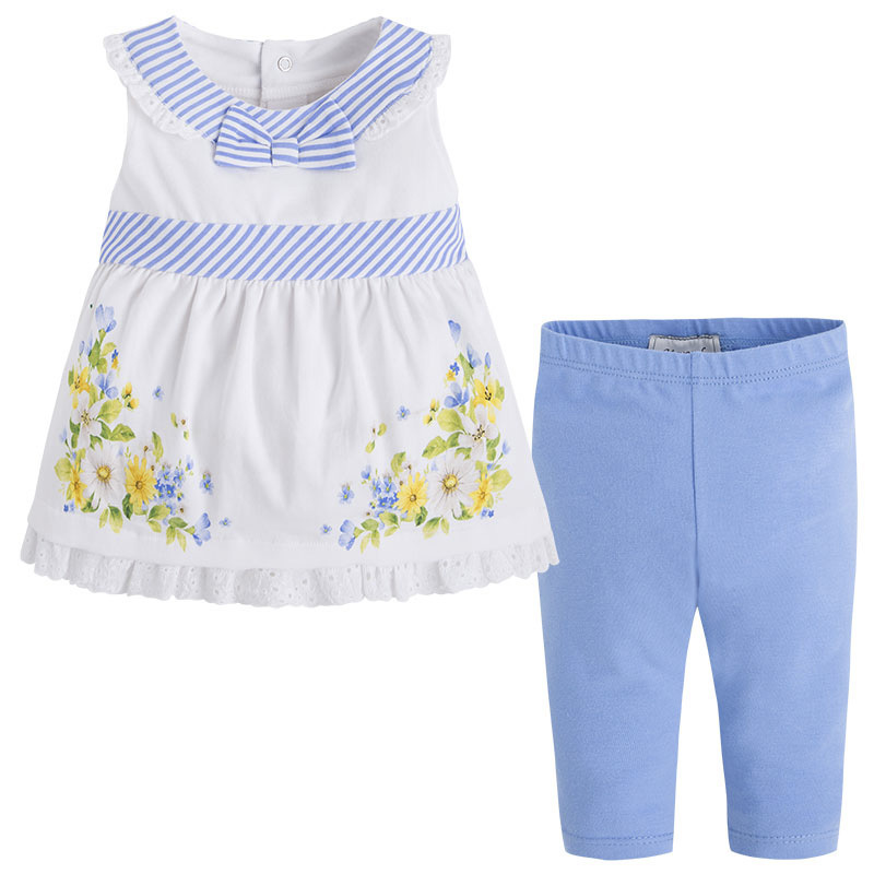Mayoral Baby Girl 3M-24M Blue/White/Yellow Stripes-n-Floral Top/Legging Set