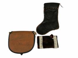 Leather Suede Cowhide Handcrafted Lot - Belt Handbag Bag Purse Clutch Stocking image 10