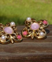 Vintage Trifari TM Pink Cabochon Faux Pearl Flower Clover Shamrock Post ... - $88.00