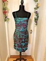 Dress Barn Women's Tiered Dress Spaghetti Straps Teal & Maroon Size 6 - $16.35
